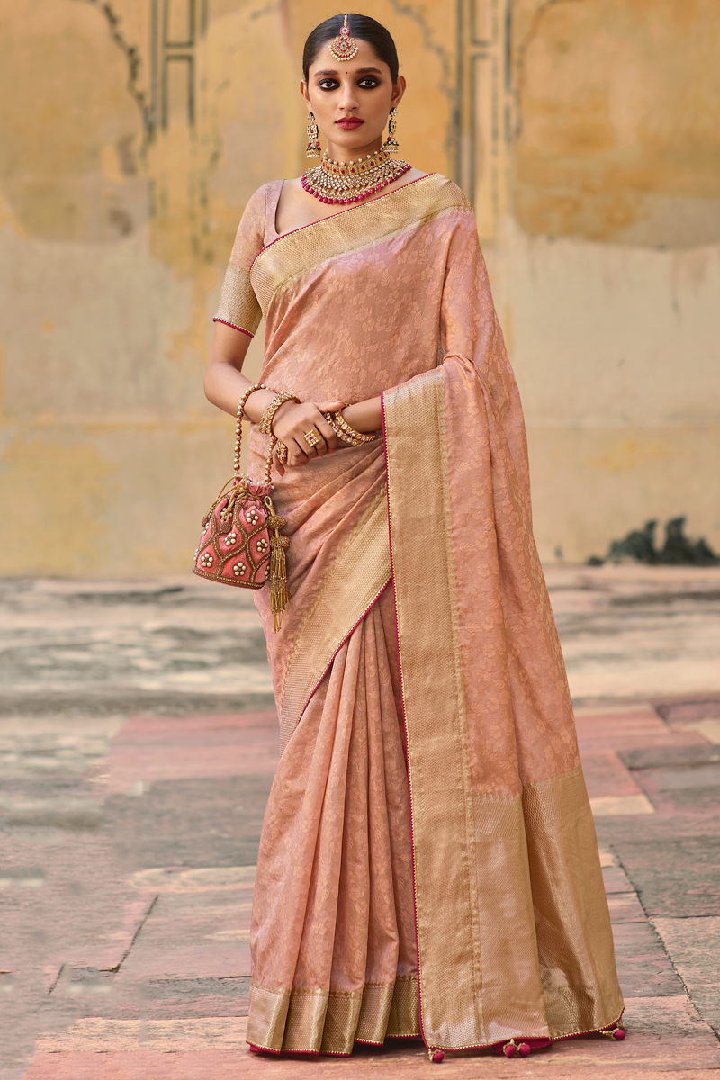 Peach Color Art Silk Fabric Weaving Work Function Wear Stylish Saree
