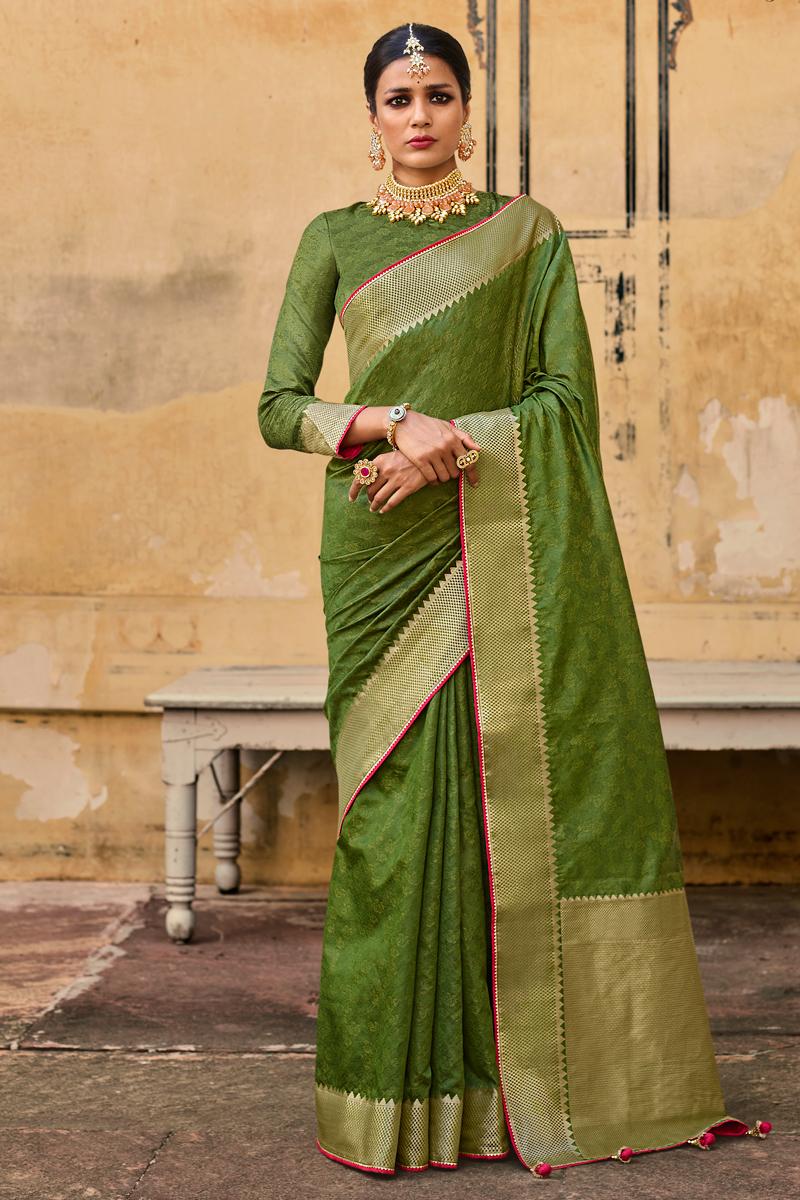 Art Silk Green Color Weaving Work Festive Wear Fancy Saree