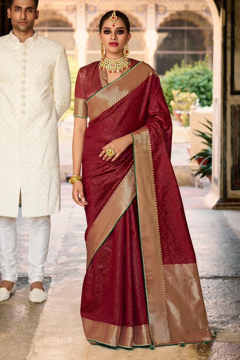 Art Silk Fabric Maroon Color Sangeet Wear Designer Weaving Work Saree