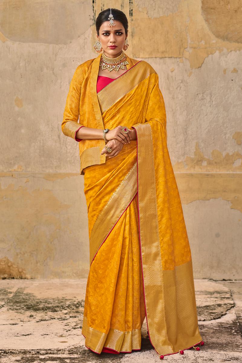 Art Silk Fabric Weaving Work Yellow Wedding Wear Fancy Saree