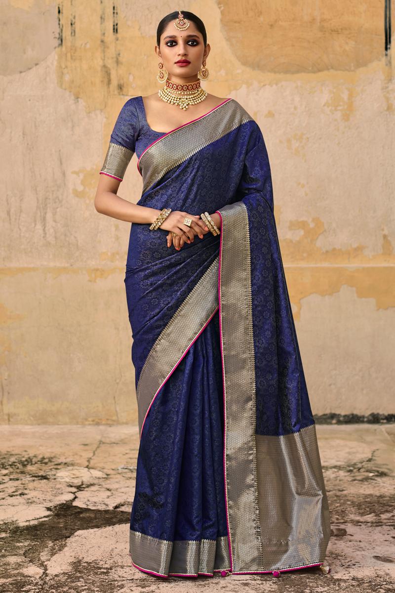 Navy Blue Color Art Silk Fabric Reception Wear Weaving Work Saree