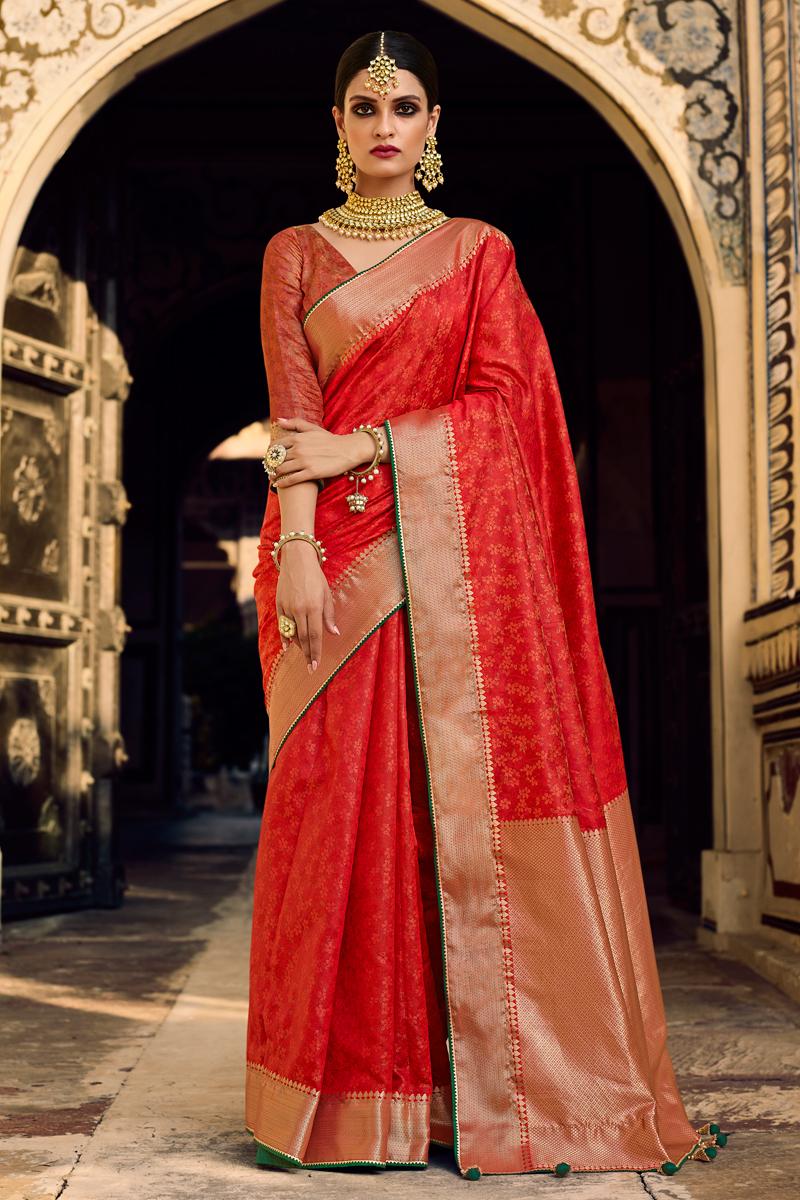 Red Color Art Silk Fabric Stylish Weaving Work Function Wear Saree