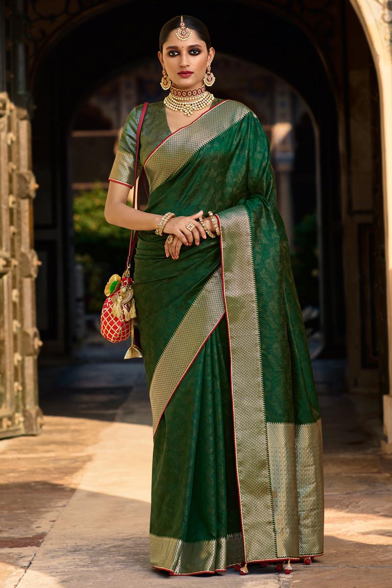 Art Silk Fabric Dark Green Color Fancy Weaving Work Festive Wear Saree