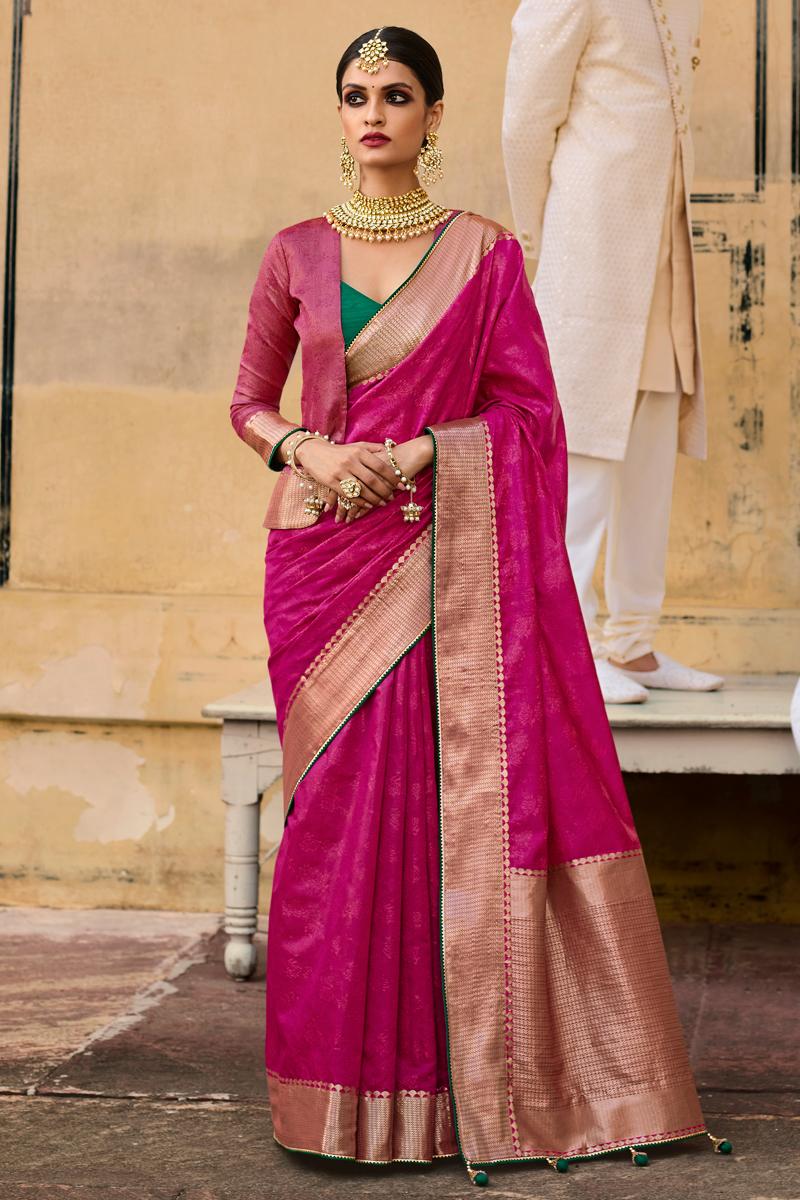 Designer Weaving Work Art Silk Fabric Rani Color Sangeet Wear Saree
