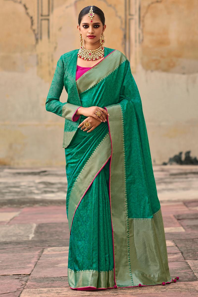 Art Silk Weaving Work Cyan Color Wedding Wear Saree