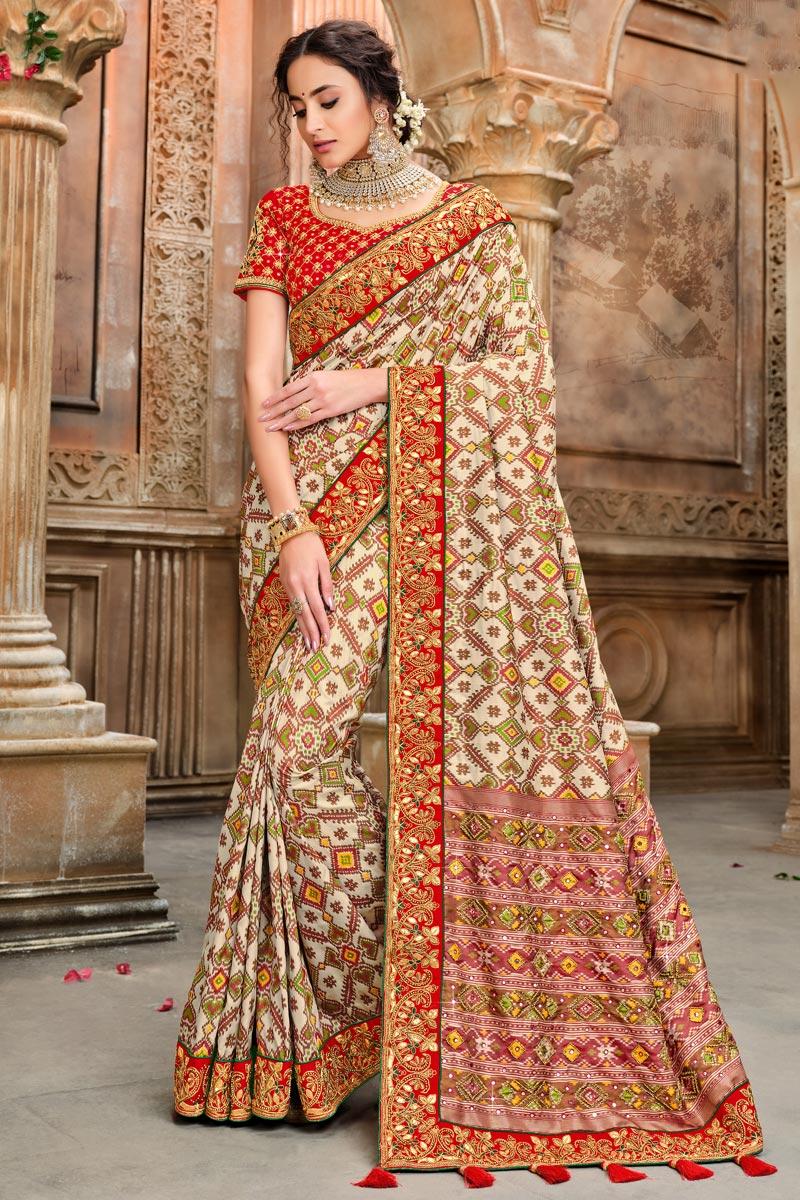 Patola Silk Fabric Function Wear Cream Color Saree