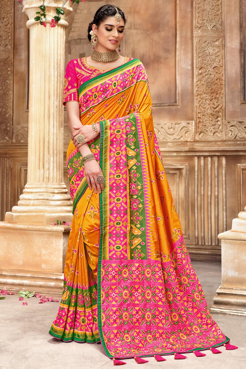 Orange Color Function Wear Patola Silk Fabric Saree