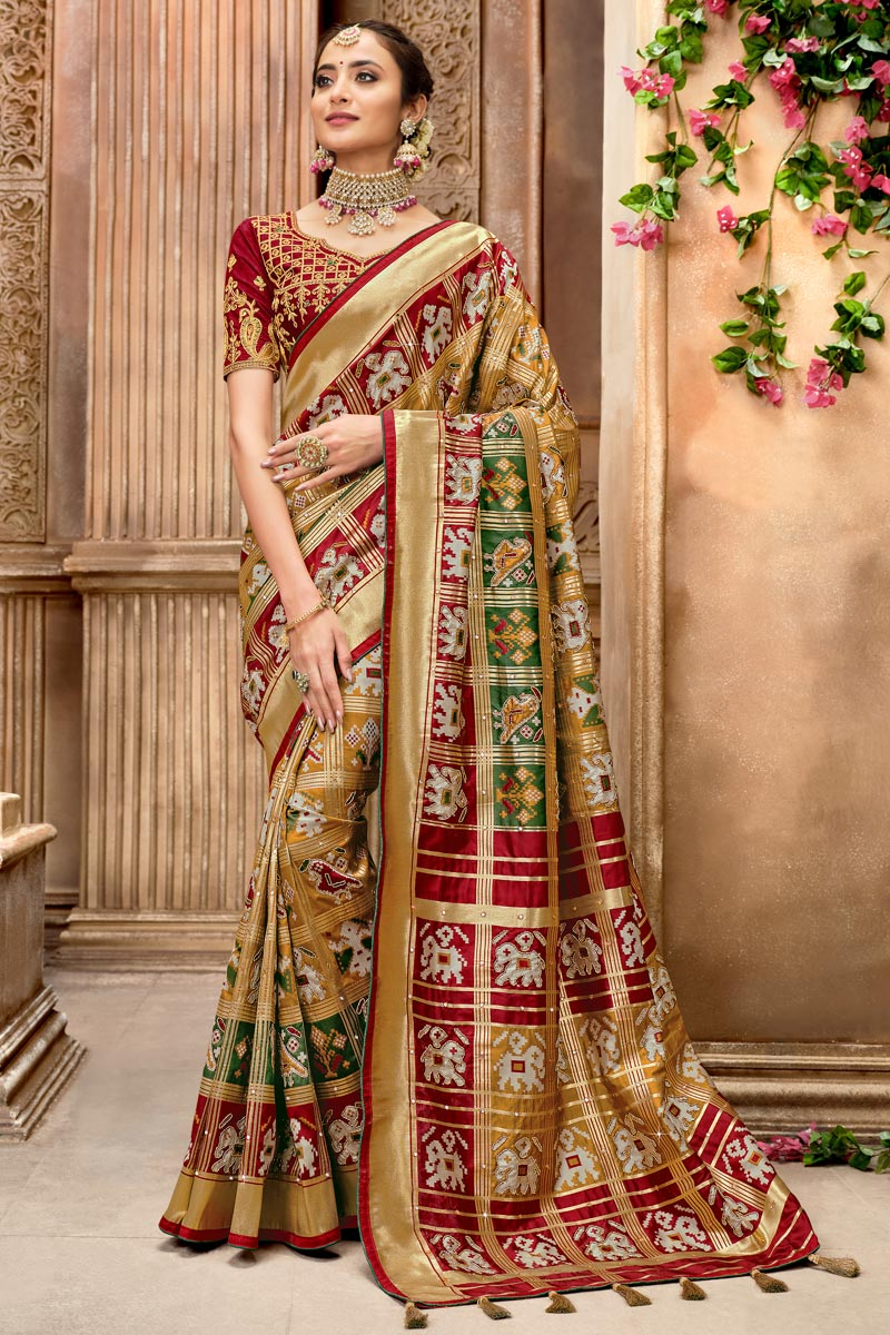 Function Wear Light Brown Color Patola Silk Fabric Saree