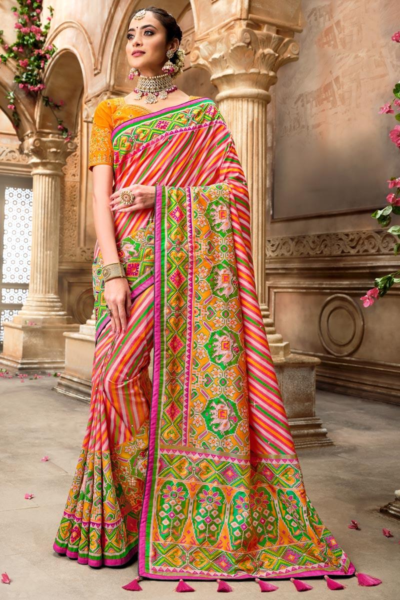 Pink Color Designer Saree In Patola Silk Fabric