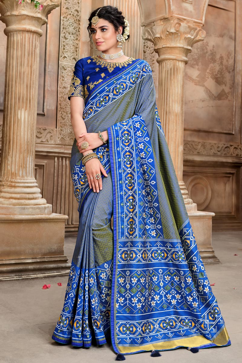 Patola Silk Fabric Party Wear Saree In Blue Color