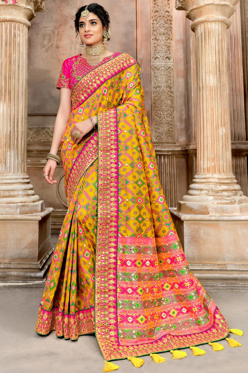 Mustard Color Traditional Saree In Patola Silk Fabric