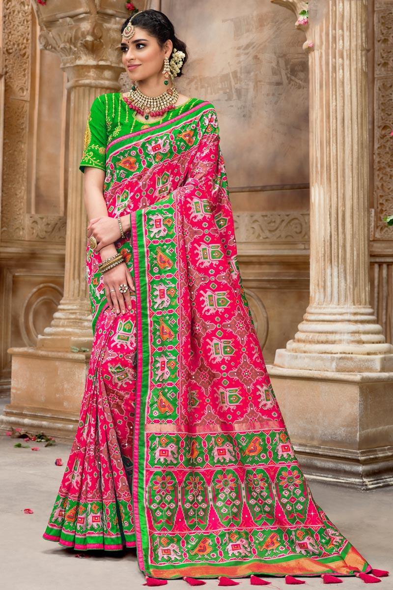 Patola Silk Fabric Rani Color Designer Saree