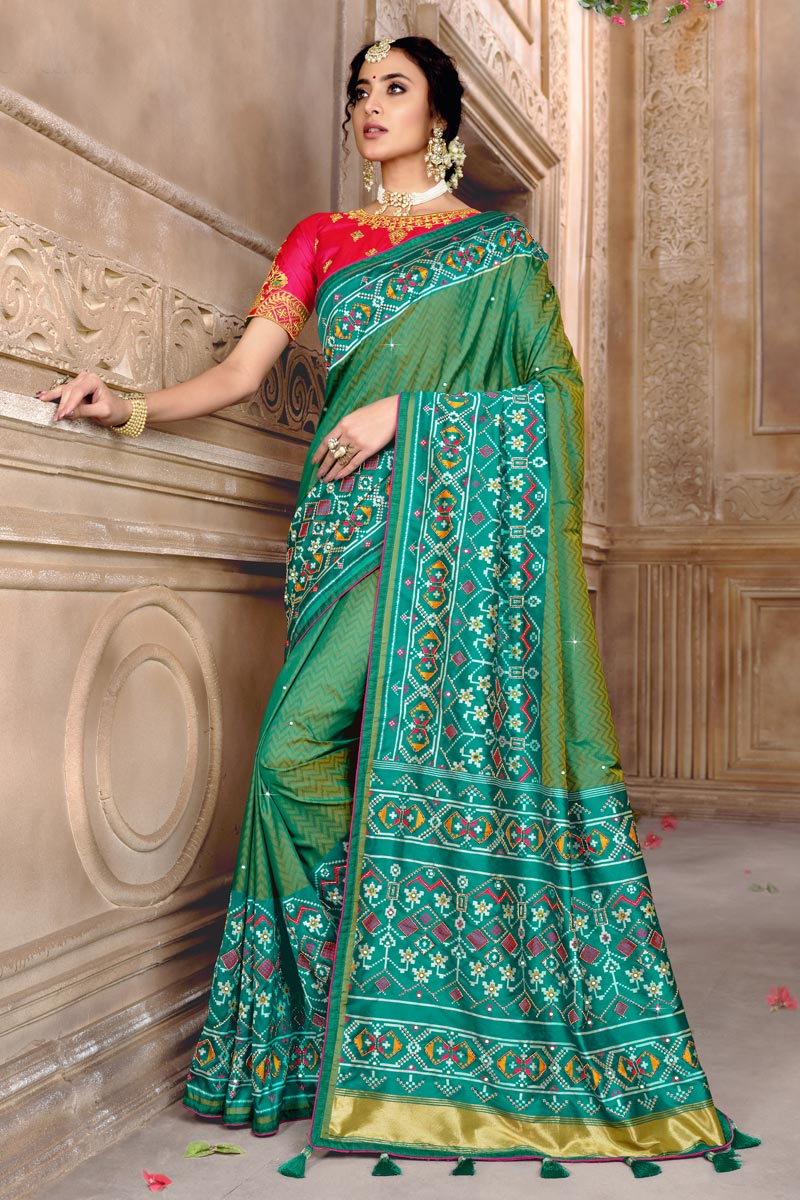Sea Green Color Party Wear Saree In Patola Silk Fabric