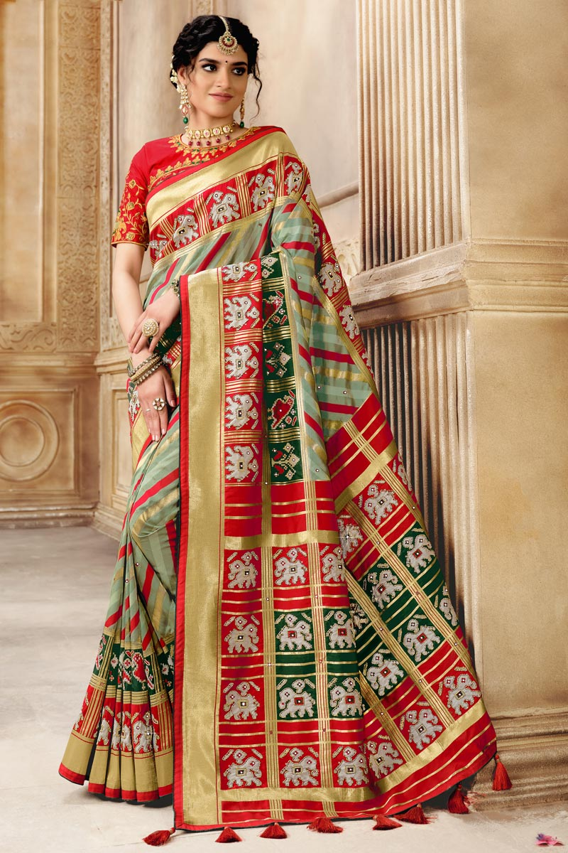 Patola Silk Fabric Designer Saree In Multi Color