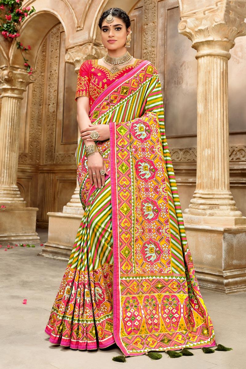 Multi Color Patola Silk Fabric Occasion Wear Saree