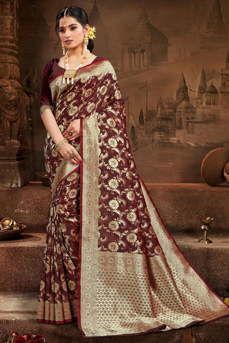 Art Silk Fabric Festive Wear Trendy Brown Color Weaving Work Saree