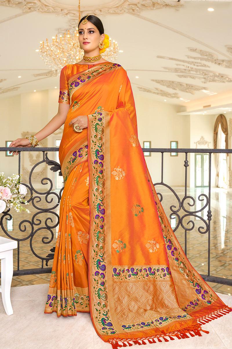 Silk Fabric Sangeet Wear Orange Color Weaving Work Fancy Saree