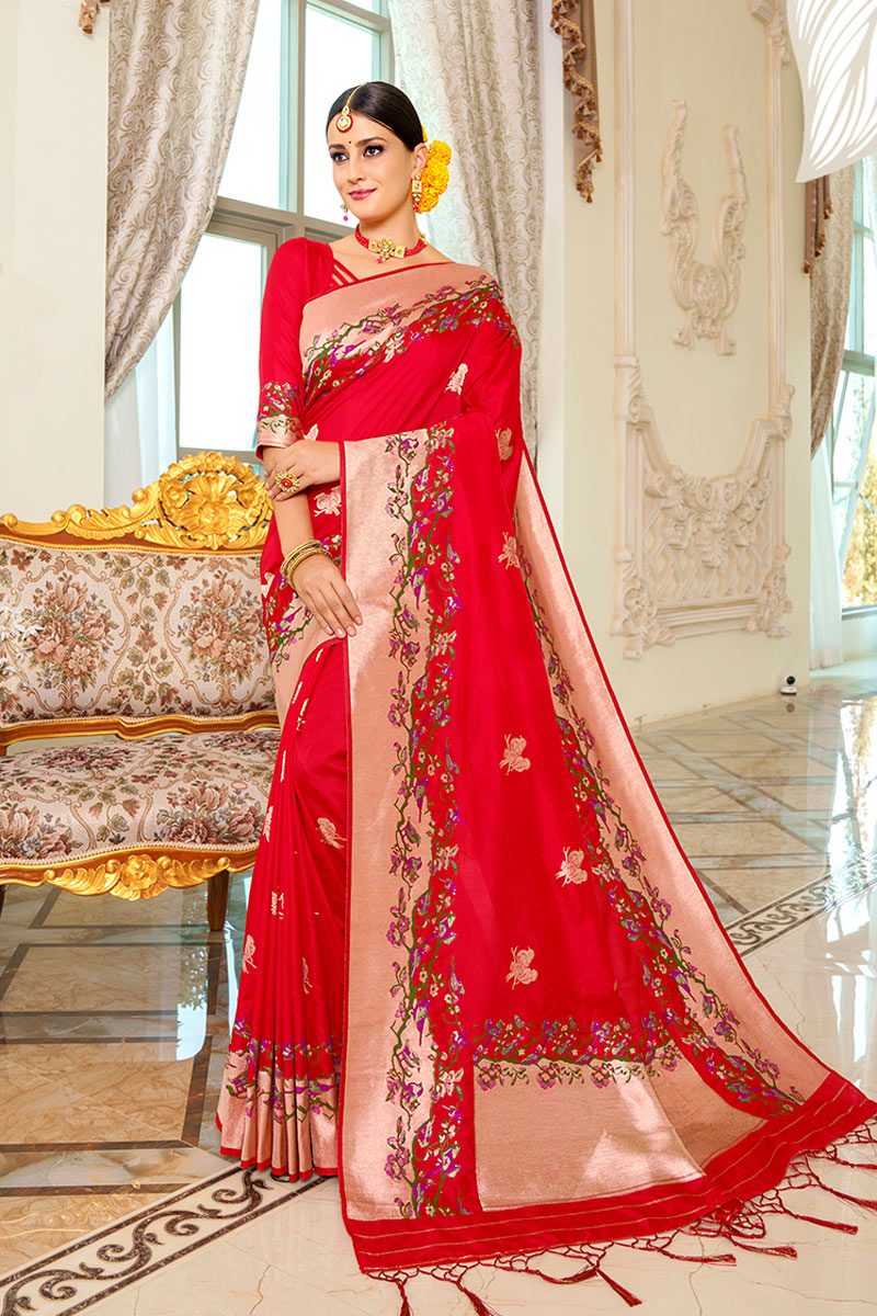 Red Color Sangeet Wear Silk Fabric Weaving Work Fancy Saree