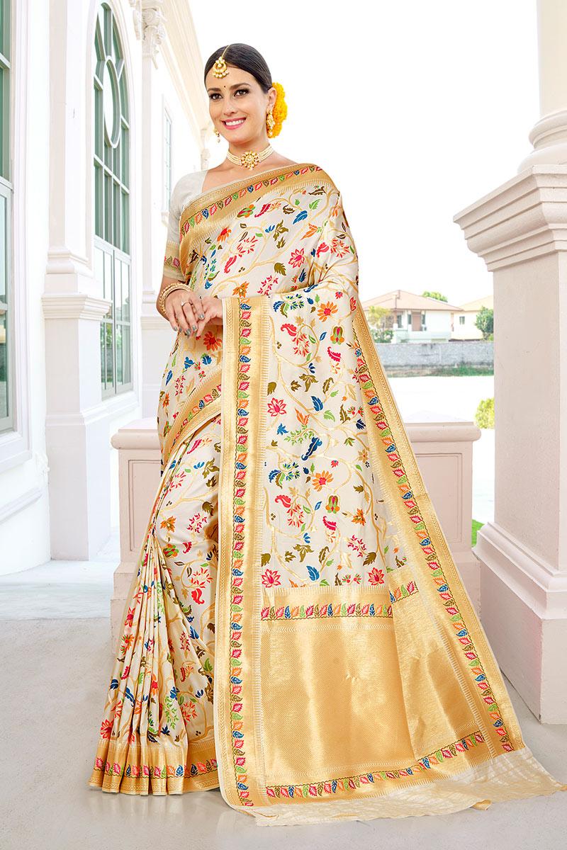 Sangeet Wear Beige Color Silk Fabric Weaving Work Fancy Saree