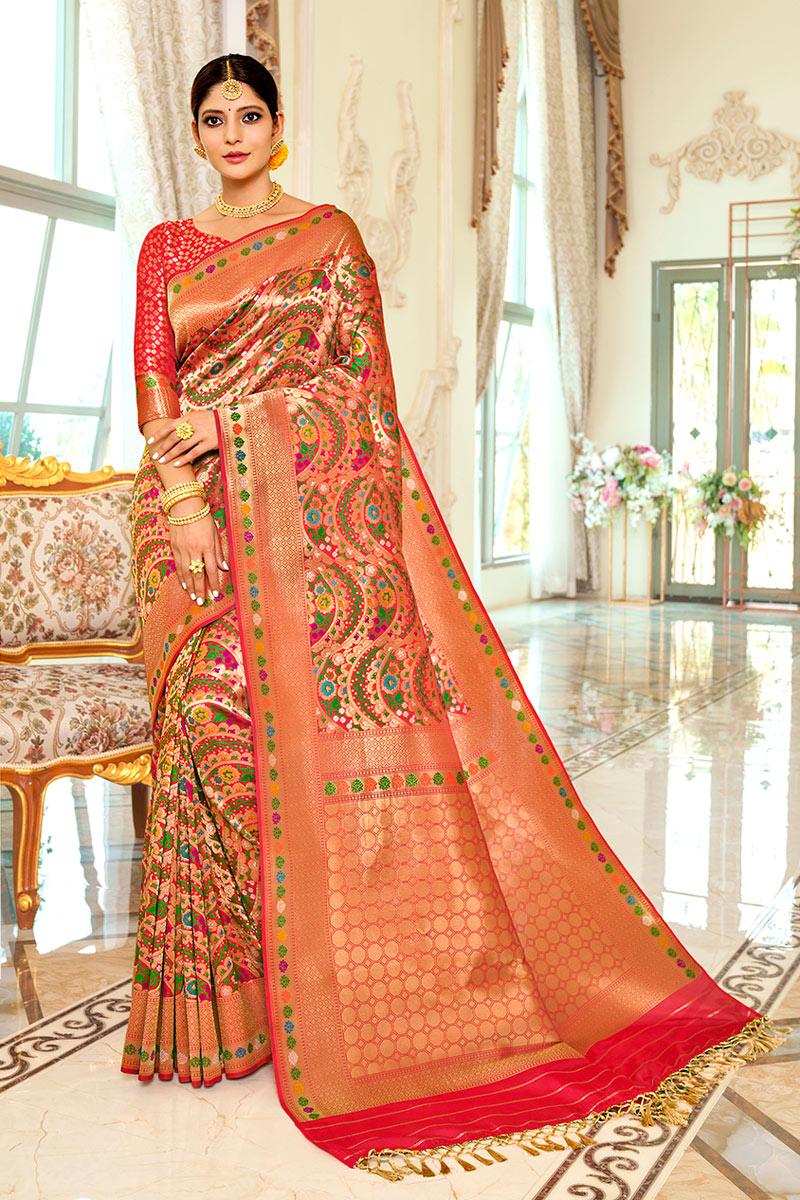 Sangeet Wear Silk Fabric Weaving Work Fancy Saree In Peach Color