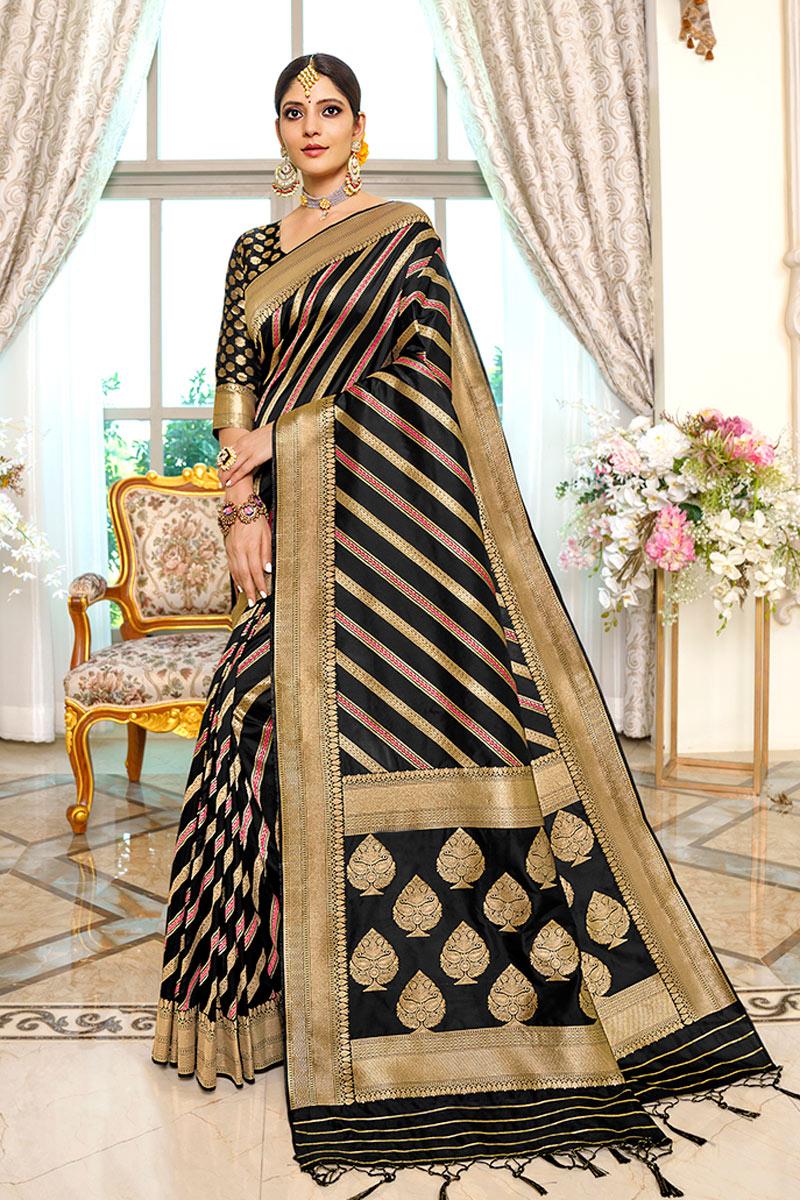 Black Color Designer Fancy Saree In Silk Fabric