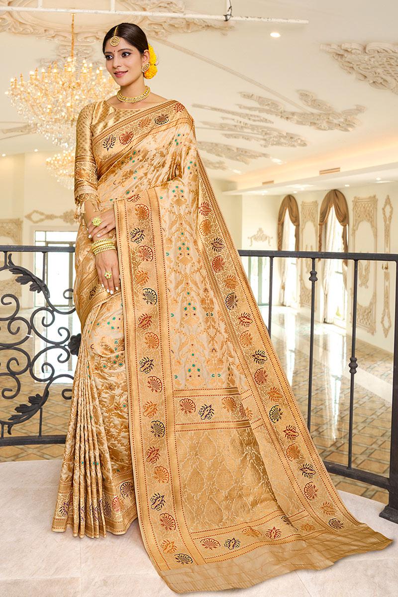 Silk Fabric Party Wear Fancy Saree In Cream Color