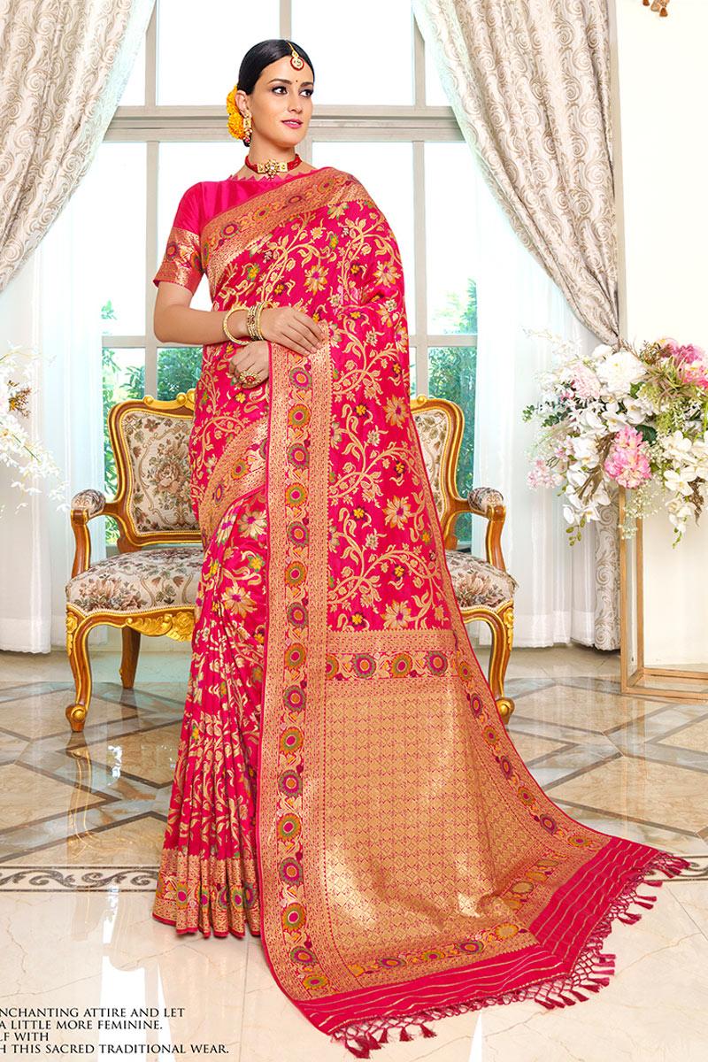 Rani Color Silk Fabric Festive Wear Fancy Saree