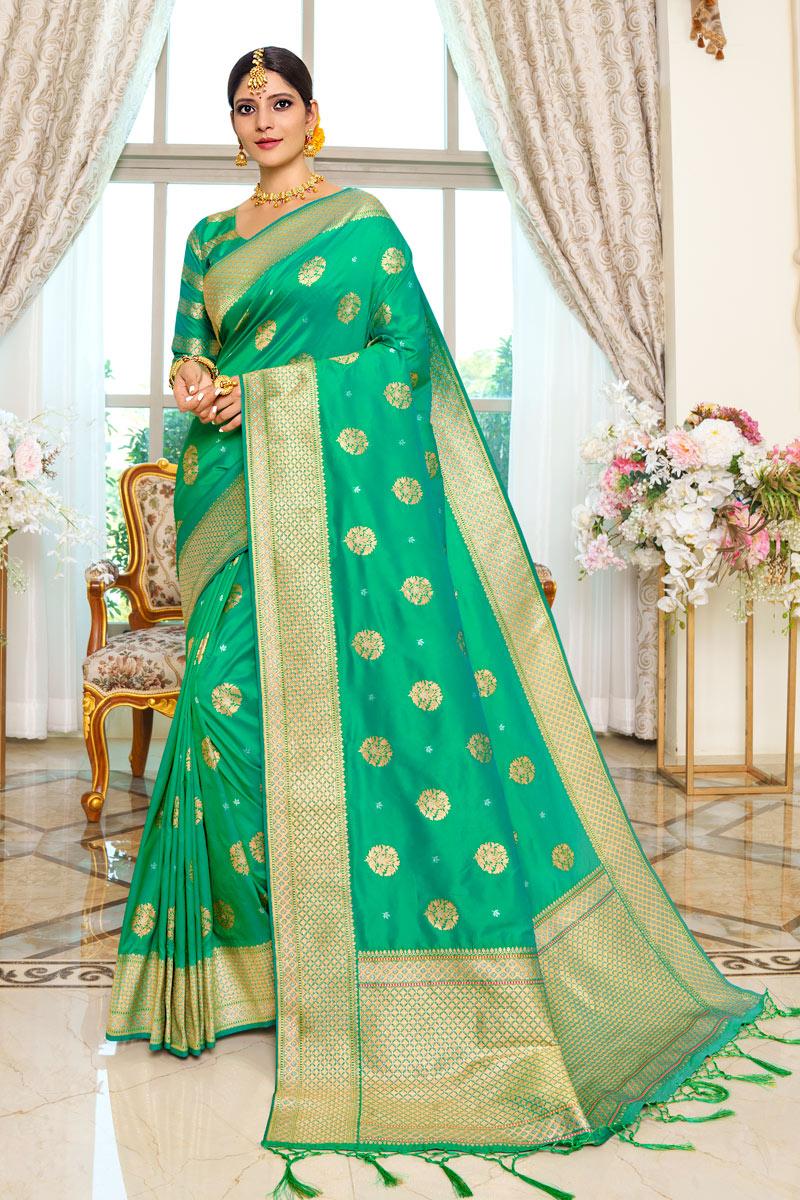 Sea Green Color Traditional Fancy Saree In Silk Fabric