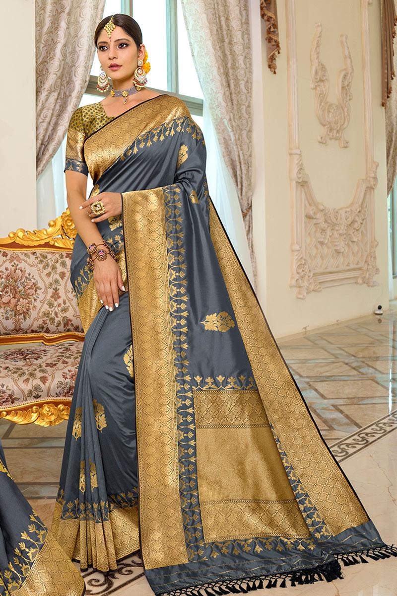Grey Color Silk Fabric Function Wear Fancy Saree