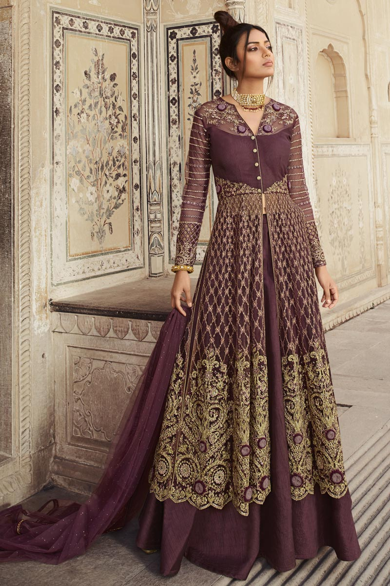 Function Wear Wine Color Net Fabric Embroidered Long Length Anarkali Suit