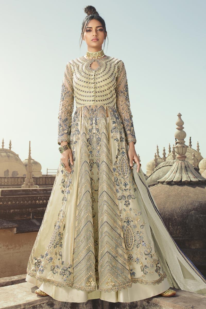 Function Wear Embroidered Floor Length Beige Color Anarkali Dress In Net Fabric
