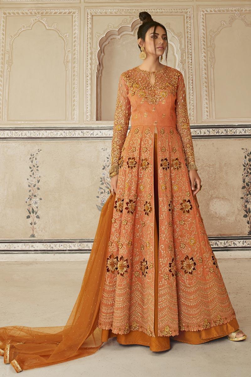 Function Wear Orange Color Long Length Net Fabric Embroidered Anarkali Suit