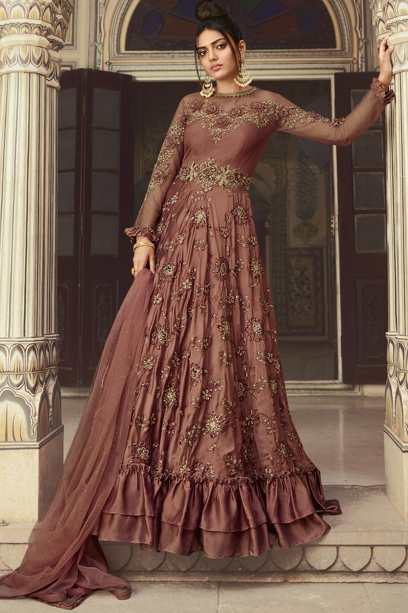 Function Wear Embroidered Rust Color Floor Length Anarkali Dress In Net Fabric