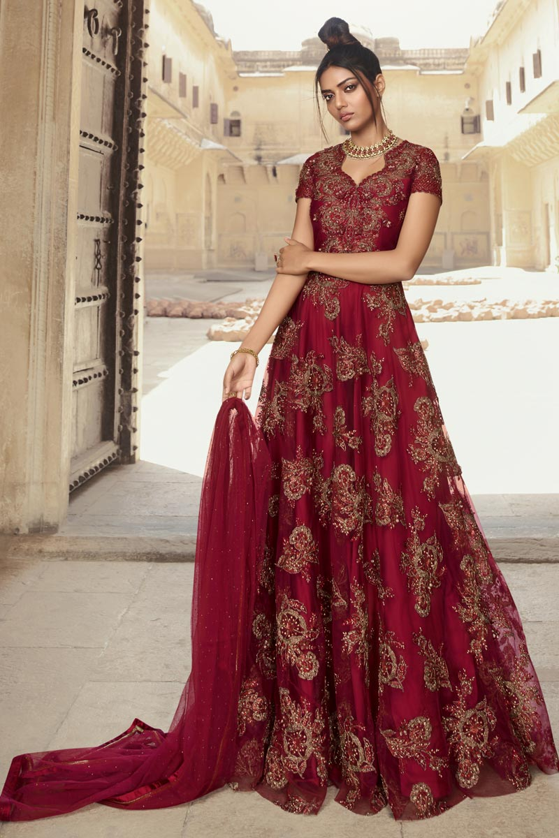 Net Fabric Function Wear Maroon Color Long Length Embroidered Anarkali Suit