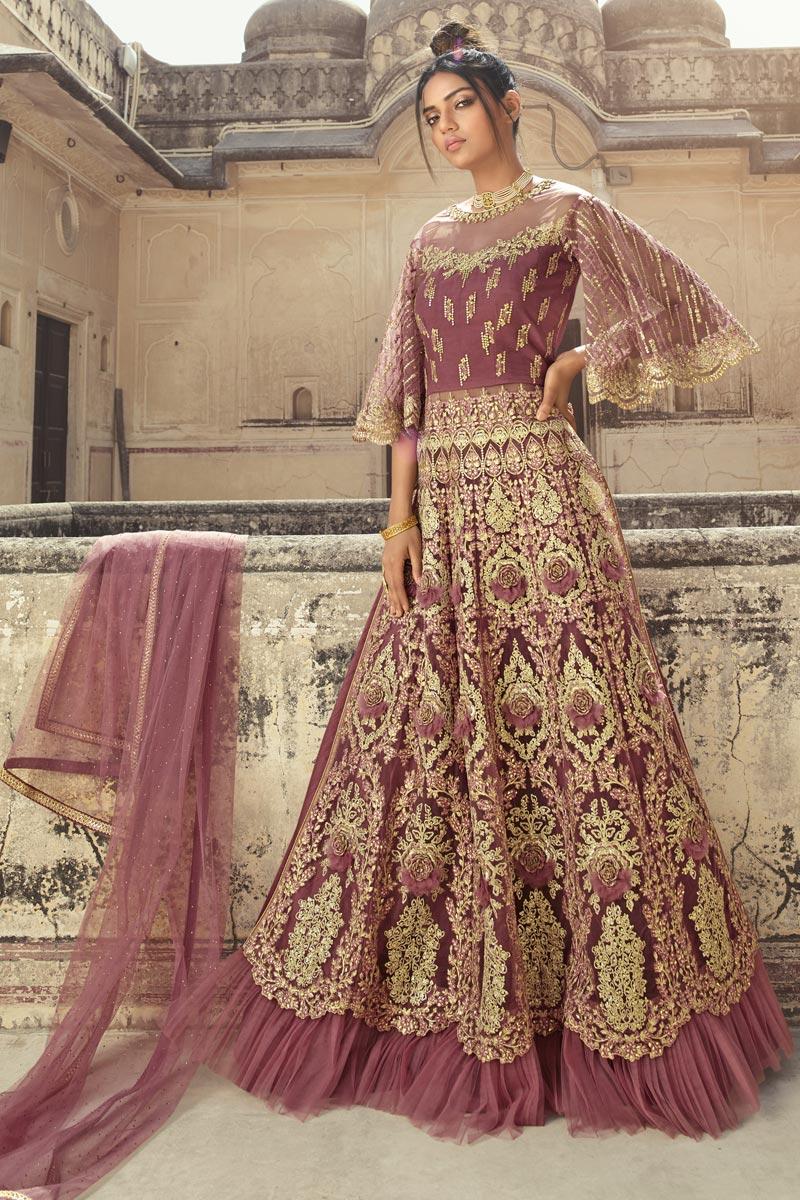 Pink Color Function Wear Embroidered Floor Length Net Fabric Anarkali Dress