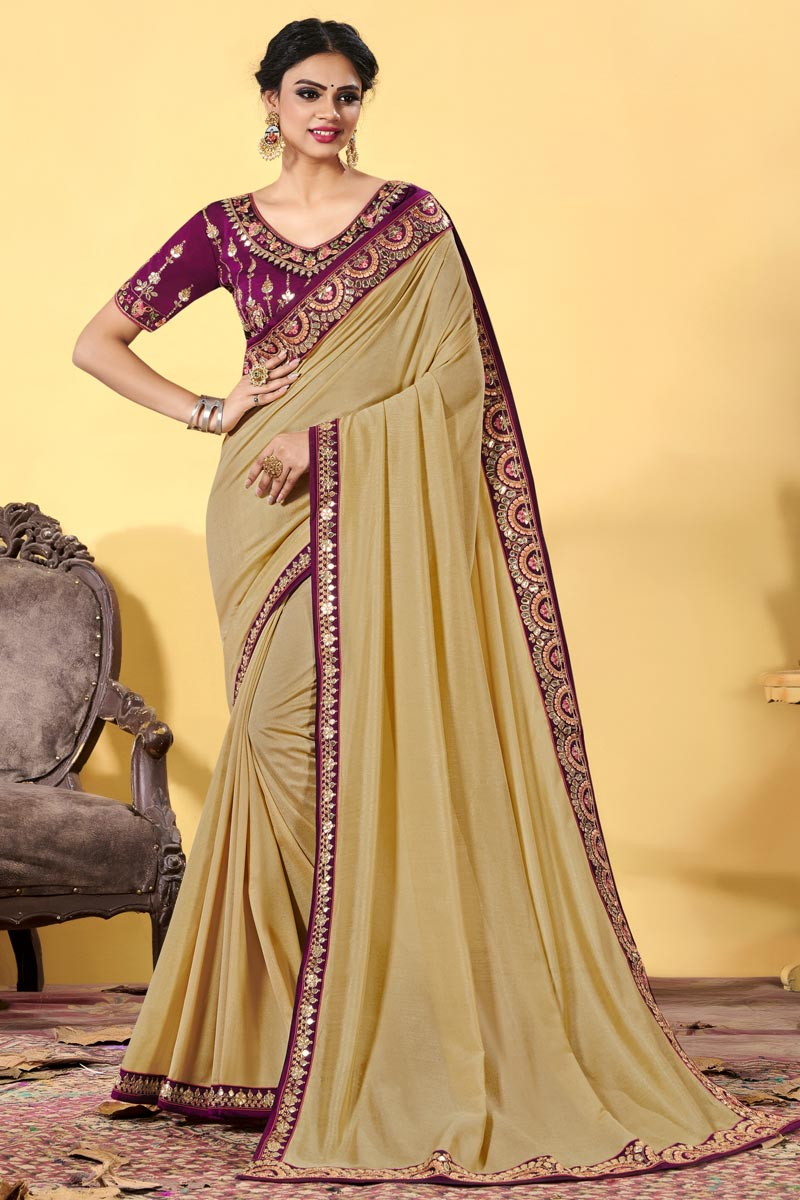 Art Silk Fabric Beige Color Embroidered Function Wear Trendy Saree