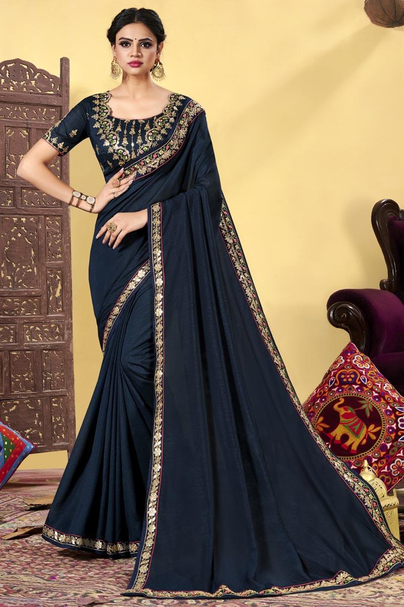 Embroidered Navy Blue Color Art Silk Fabric Festive Wear Stylish Saree