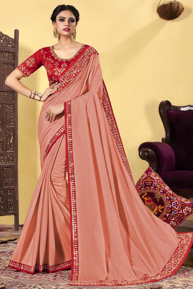 Party Wear Peach Color Art Silk Fabric Embroidered Designer Saree