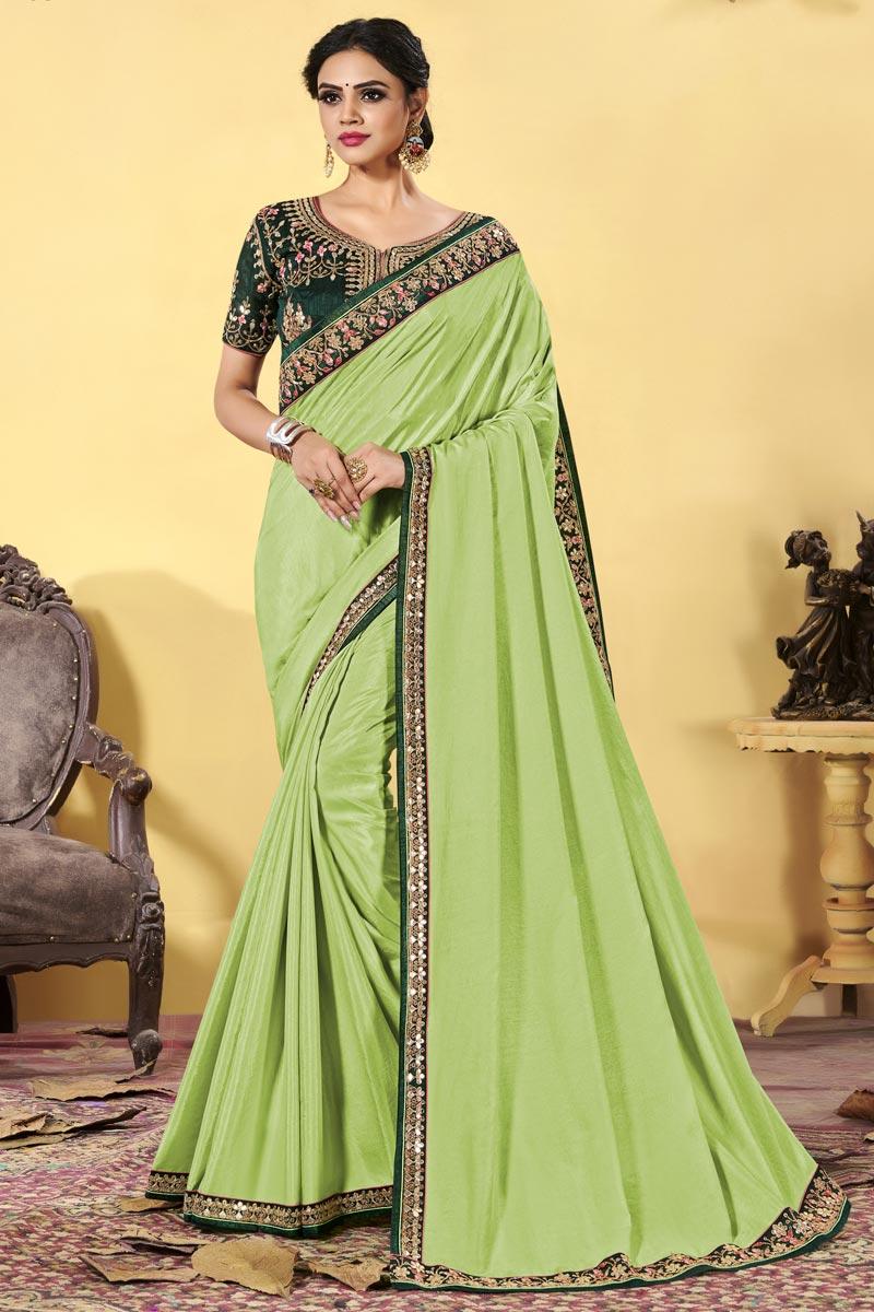 Fancy Sea Green Color Art Silk Fabric Embroidered Sangeet Wear Saree