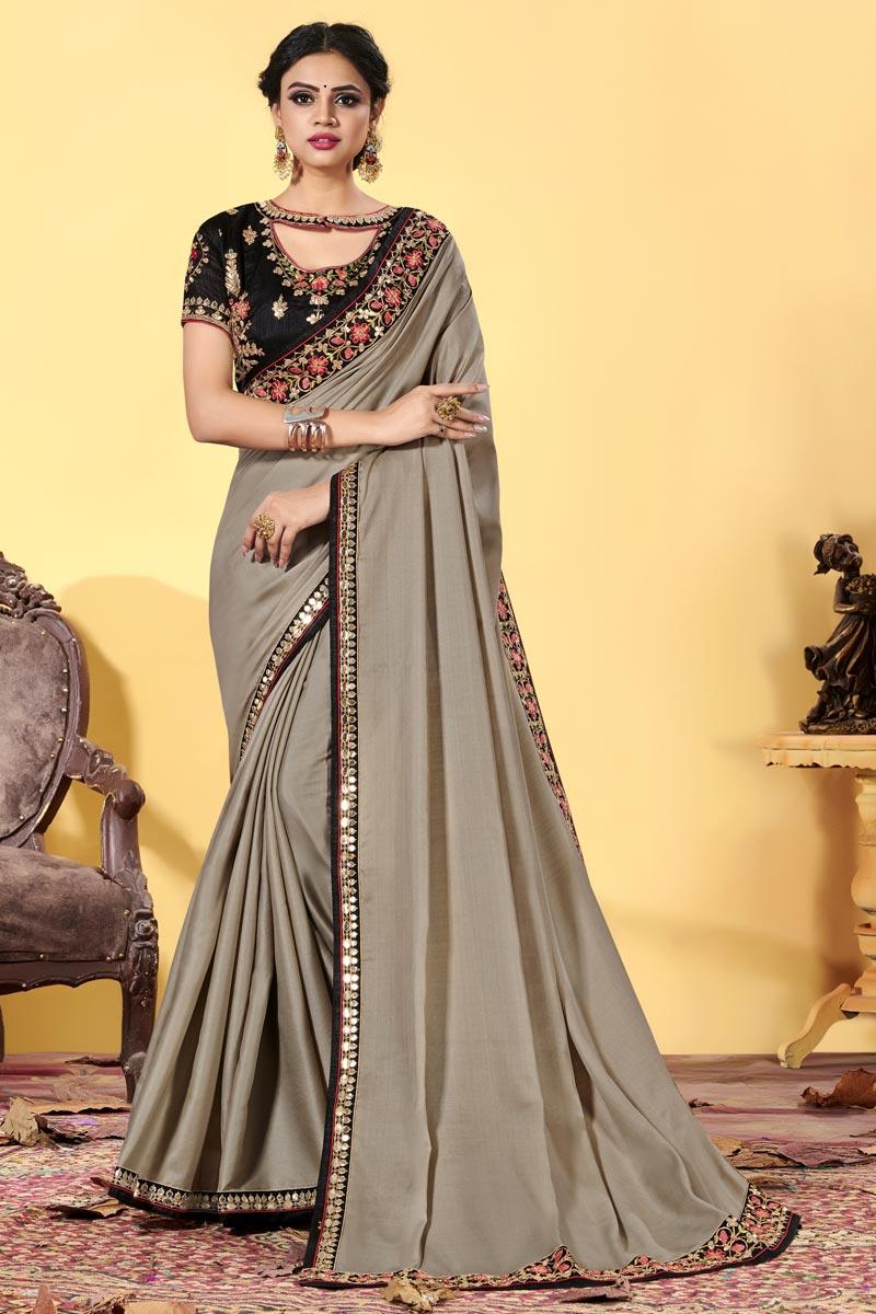 Art Silk Fabric Embroidered Wedding Wear Trendy Saree In Cream Color