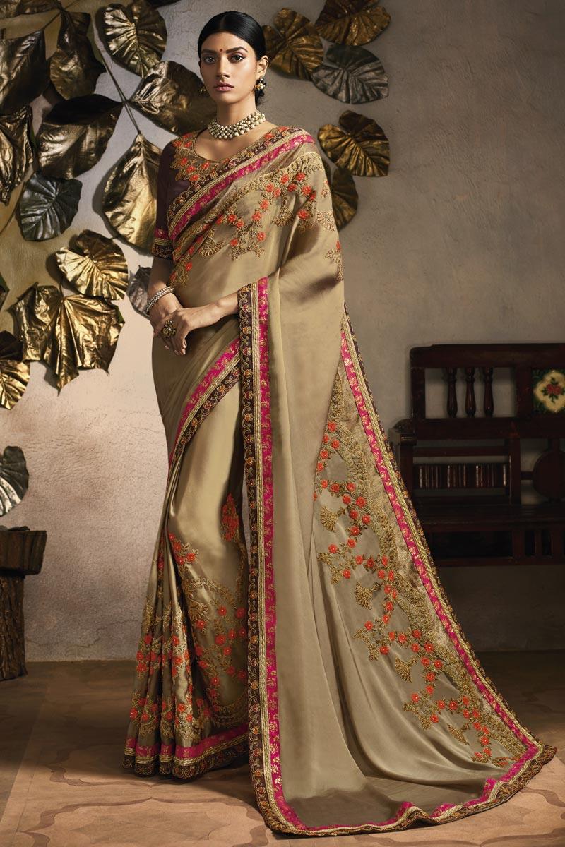 Fancy Fabric Beige Sangeet Wear Designer Embroidered Saree