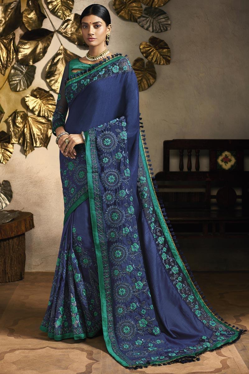 Navy Blue Sangeet Wear Designer Embroidered Saree In Fancy Fabric