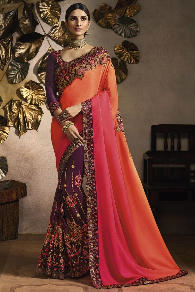 Fancy Fabric Sangeet Wear Designer Embroidered Purple Saree