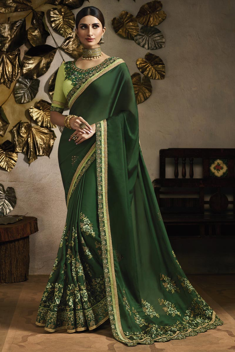 Dark Green Sangeet Wear Designer Embroidered Saree In Fancy Fabric