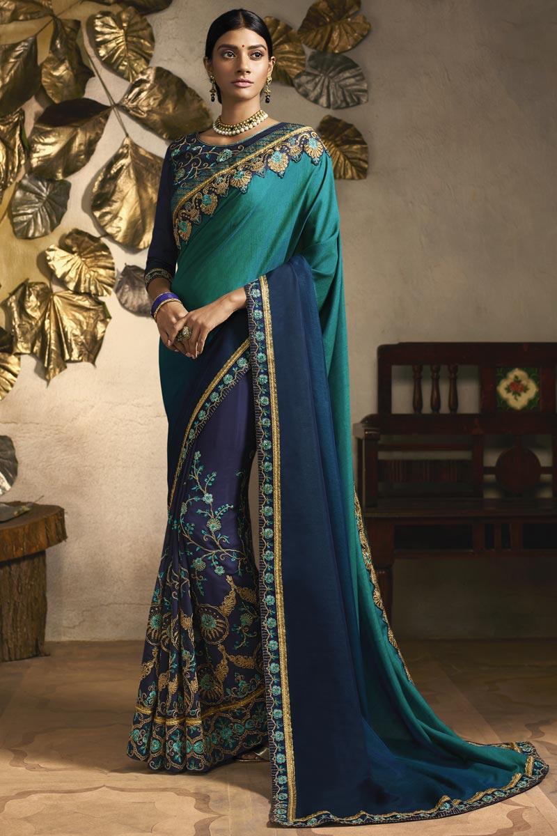 Sangeet Wear Designer Fancy Fabric Embroidered Saree In Navy Blue