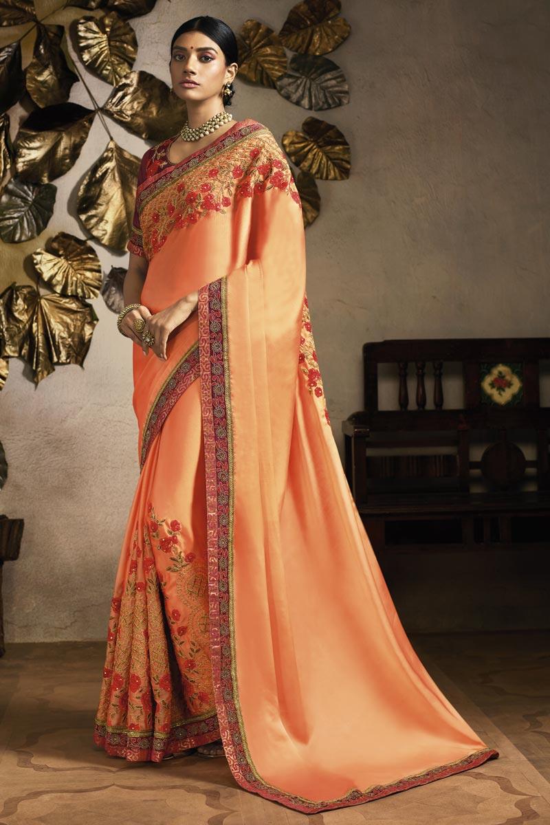 Fancy Fabric Sangeet Wear Designer Peach Embroidered Saree