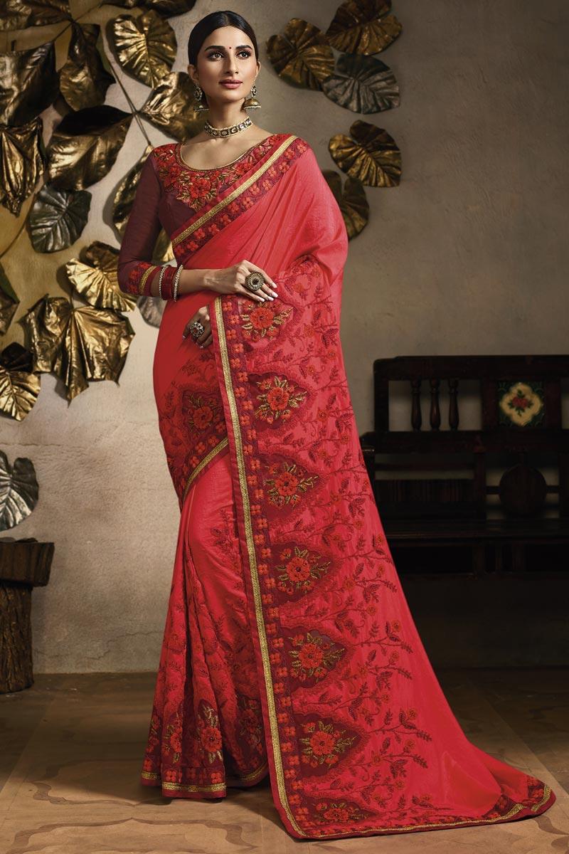 Fancy Fabric Sangeet Wear Designer Embroidered Saree In Red