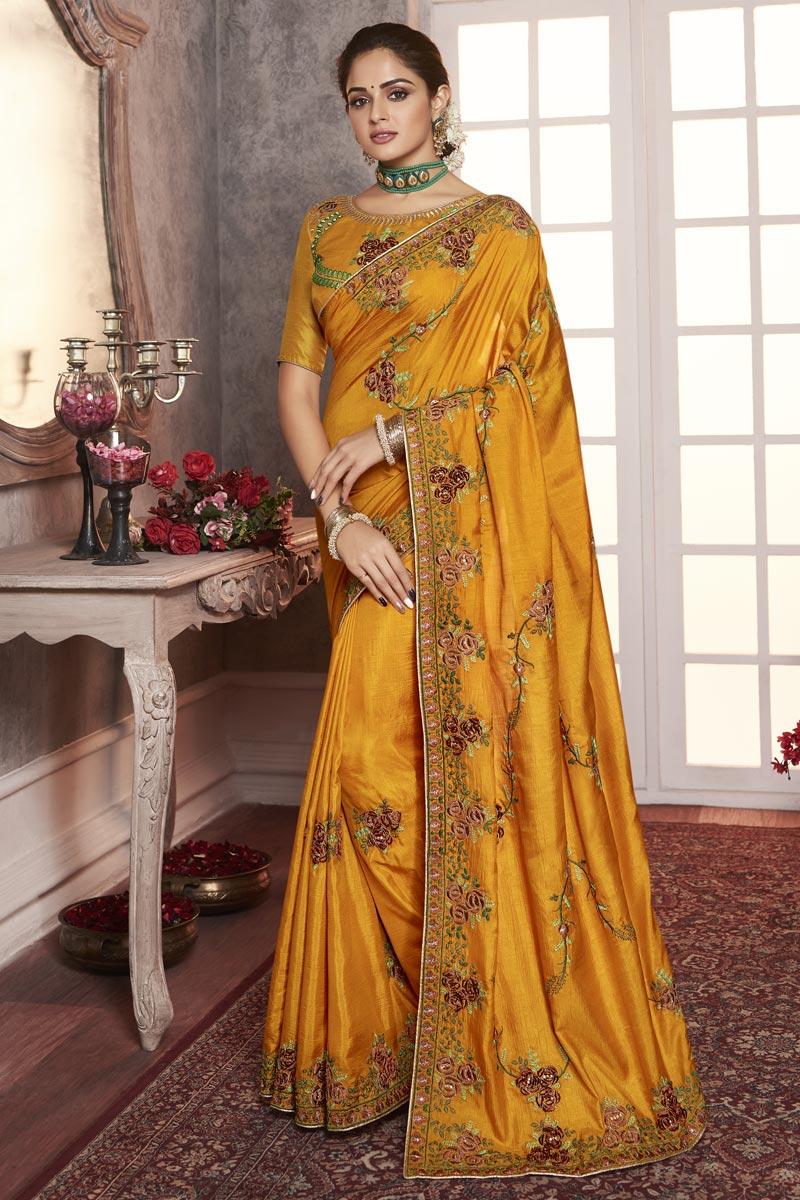 Art Silk Fancy Traditional Wear Mustard Thread Embroidered Saree