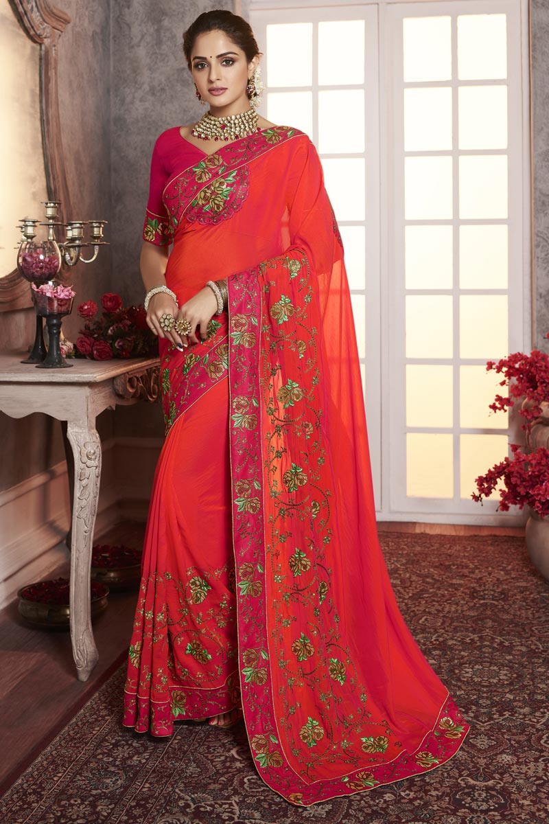 Traditional Wear Fancy Red Thread Embroidered Saree In Art Silk