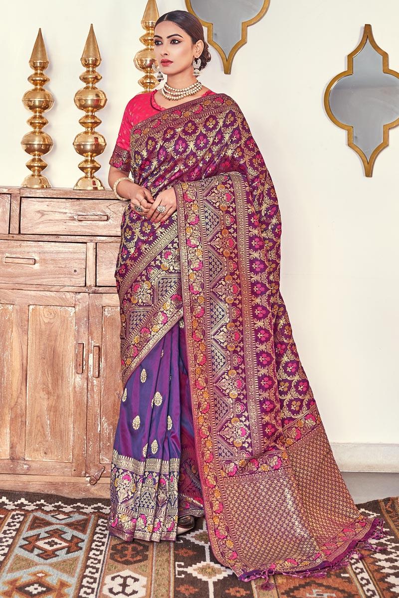 Purple Color Sangeet Function Wear Designer Banarasi Silk Fabric Weaving Work Saree